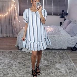 Light Blue Stripes Tassel Shift Mini Dress